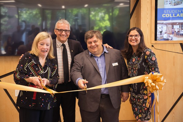 Mary Hatch,  Robert Gordon, Pascal Calarco, Karen Pillon cutting ribbon