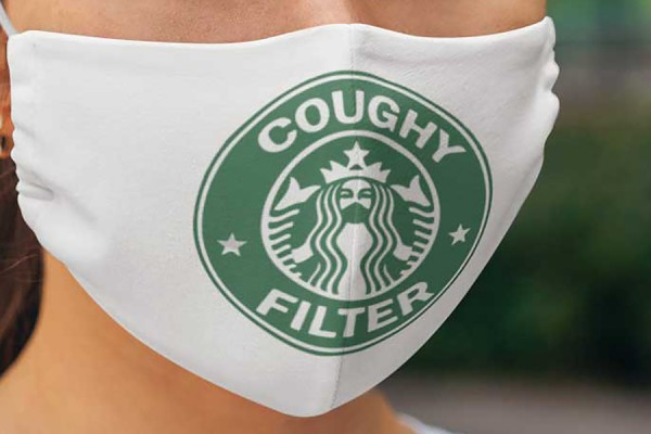 "Facemask with Starbucks logo and words ""Coughy filter"""
