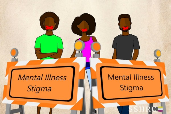 "Cartoon image from the video -- people standing behinds signs ""Mental Illness Stigma"""