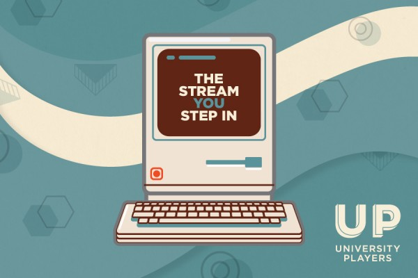 "computer displaying text ""The Stream You Step In"""