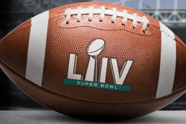 Football inscribed Super Bowl LIV