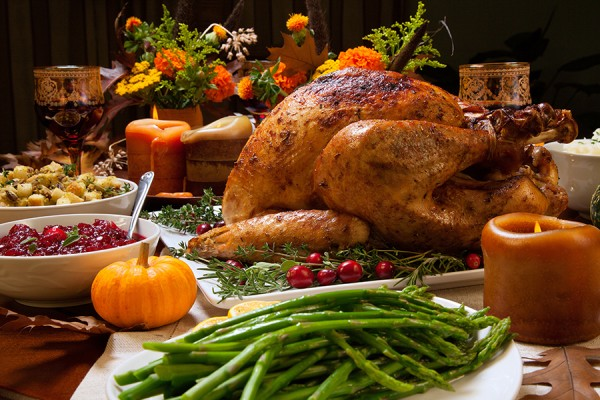 Thanksgiving dinner: roast turkey with fixings