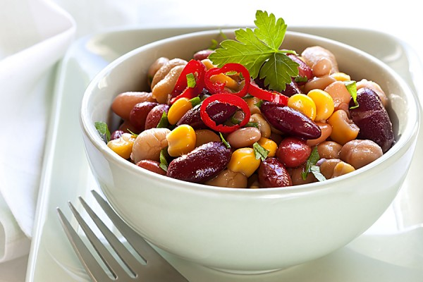 bowl of bean and corn chili