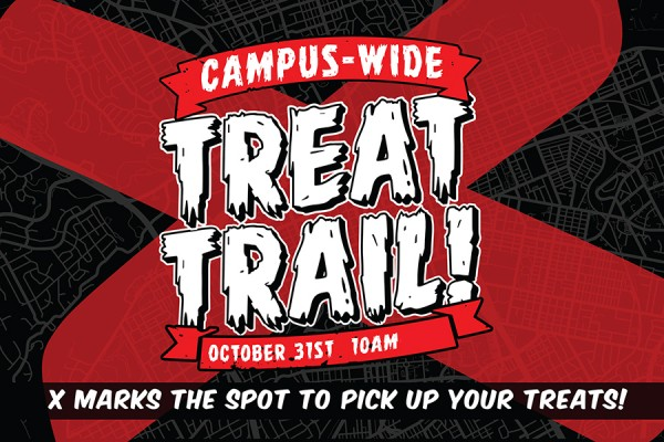 Treat Trail logo superimposed on map