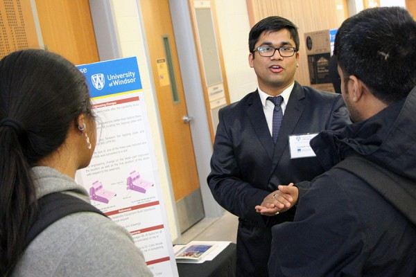 Triyambak Tripathy describes his co-op work experience with automotive parts supplier the Narmco Group to junior students, Thursday in the Centre for Engineering Innovation.
