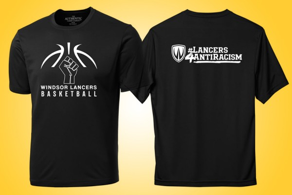 "T-shirt with a modified basketball logo on the front and the words ""Lancers 4 anti-racism"" across the back"