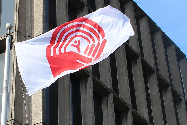 United Way flag flying outside Chrysler Hall Tower