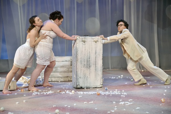 "It's a tug-of-war during the University Players production of ""Big Love."""