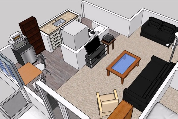 computer-generated rendering of student apartment