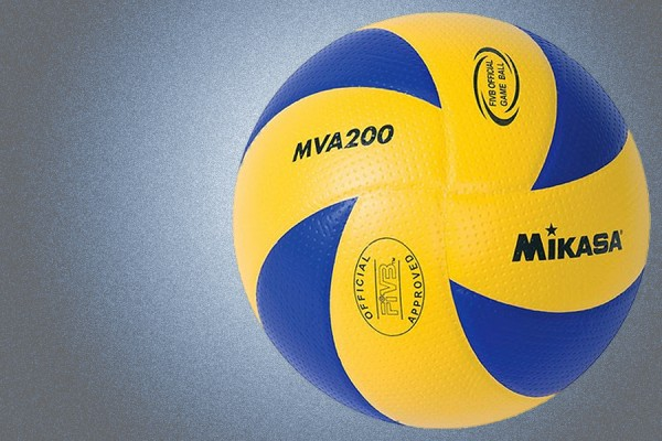 a volleyball in blue and gold