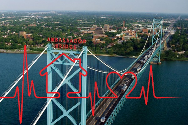heartbeat superimposed on aerial photo of Windsor