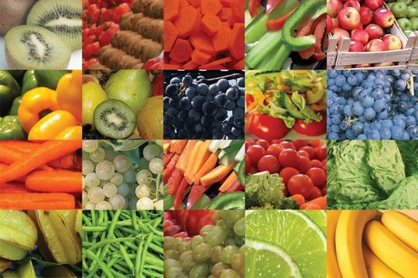 grid of fruits and vegetables