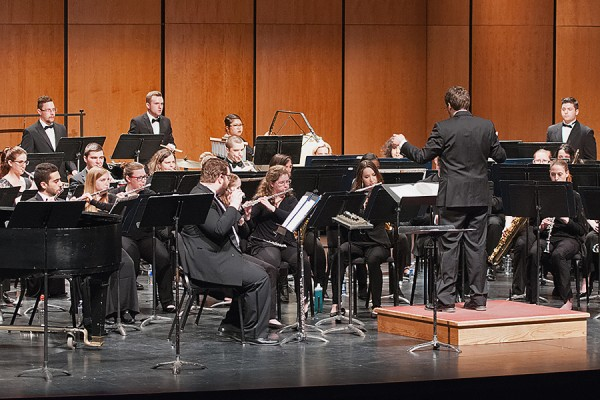 Nicholas Papador leads the University Wind Ensemble