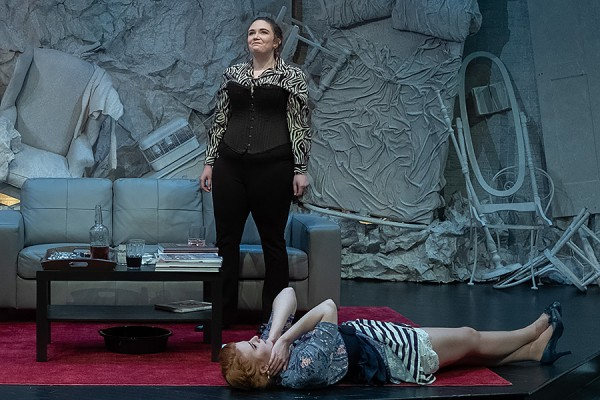 "Rebecca Lashmar and Shannon Pitre in the University Players production of ""God of Carnage."""