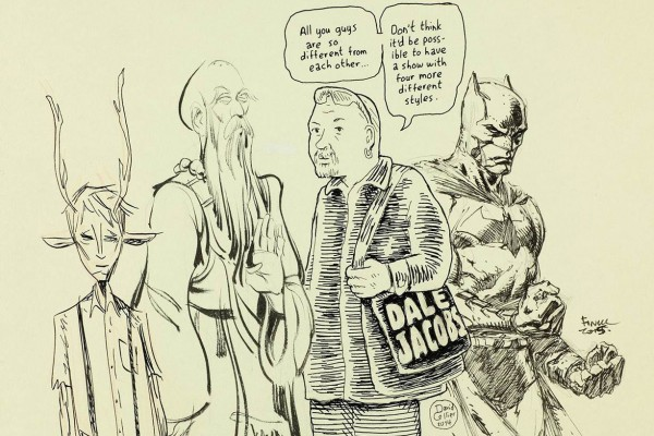Artwork by (Left to right): Jeff Lemire, Kagan McLeod, David Collier (and his rendering of Dale Jacobs) and David Finch.