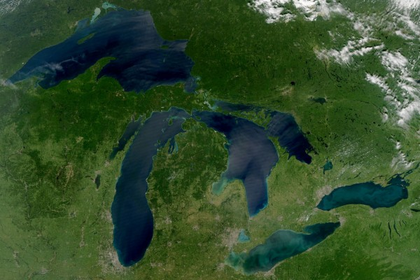 The Laurentian Great Lakes are pictured in this August 2010 NASA photo.