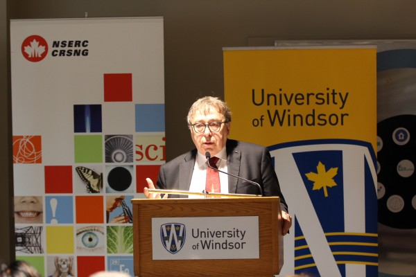 Dr. Roman Maev addresses the crowd at last week's funding announcement