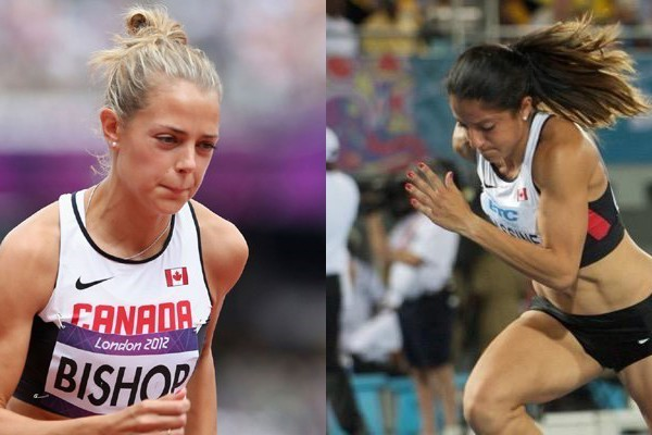 Former Lancers Melissa Bishop (r.) will compete in the women's 800m while Nicole Sassine (l.) will run as part of the Canadian 4x400m relay team.