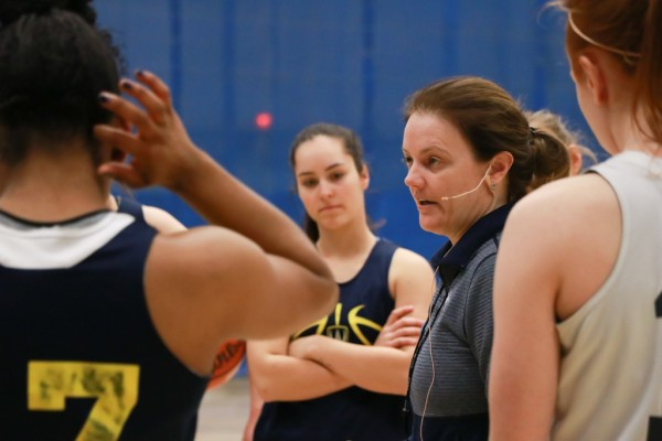University of Windsor women's basketball head coach Chantelle Vallée works with players during a practice on Jan. 31, 2018.