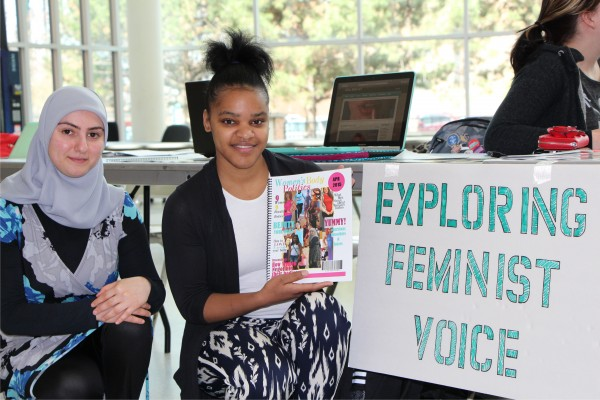 Jamila Barrett and Zainab Merhi's display thier project: Women's Body Politics magazine
