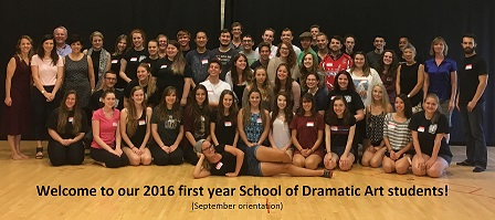 Welcome to 2016 first year School of Dramatic Art students!