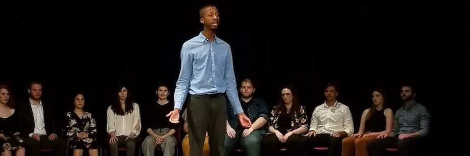 Durae Mcfarlane performs a monologue in the Hatch Studio Theatre