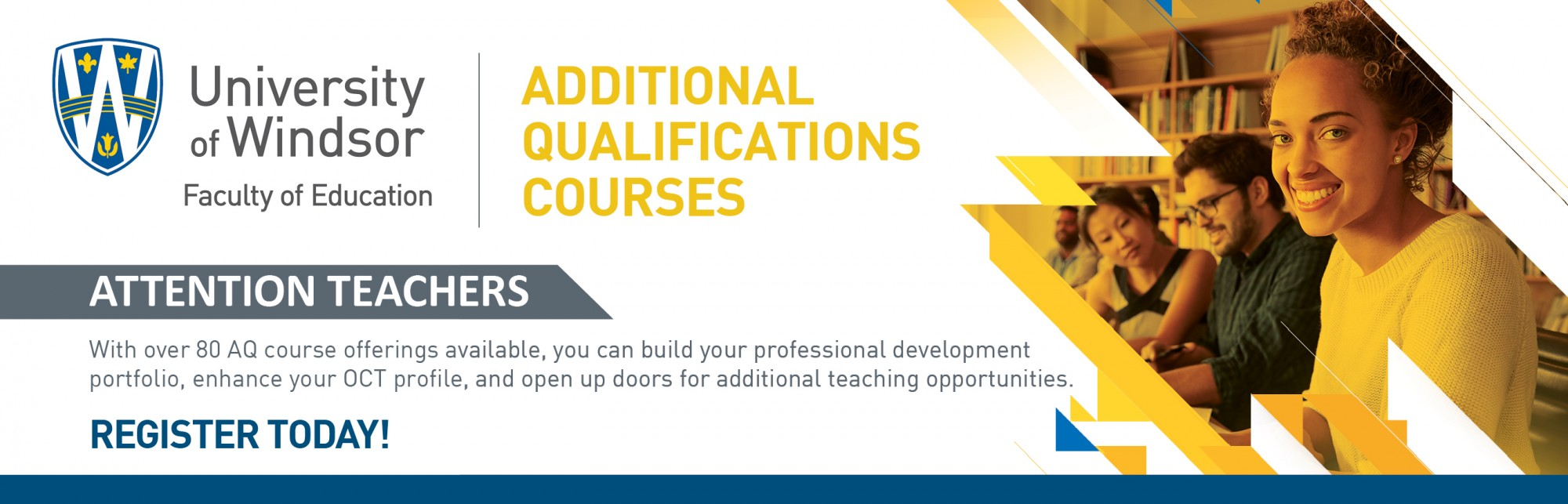 Additional Qualifications courses, banner ad describing over 80 available courses for professional development.