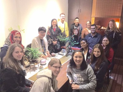 Chinese Tea house visit with UW teacher candidates in Chongqing, China 2015
