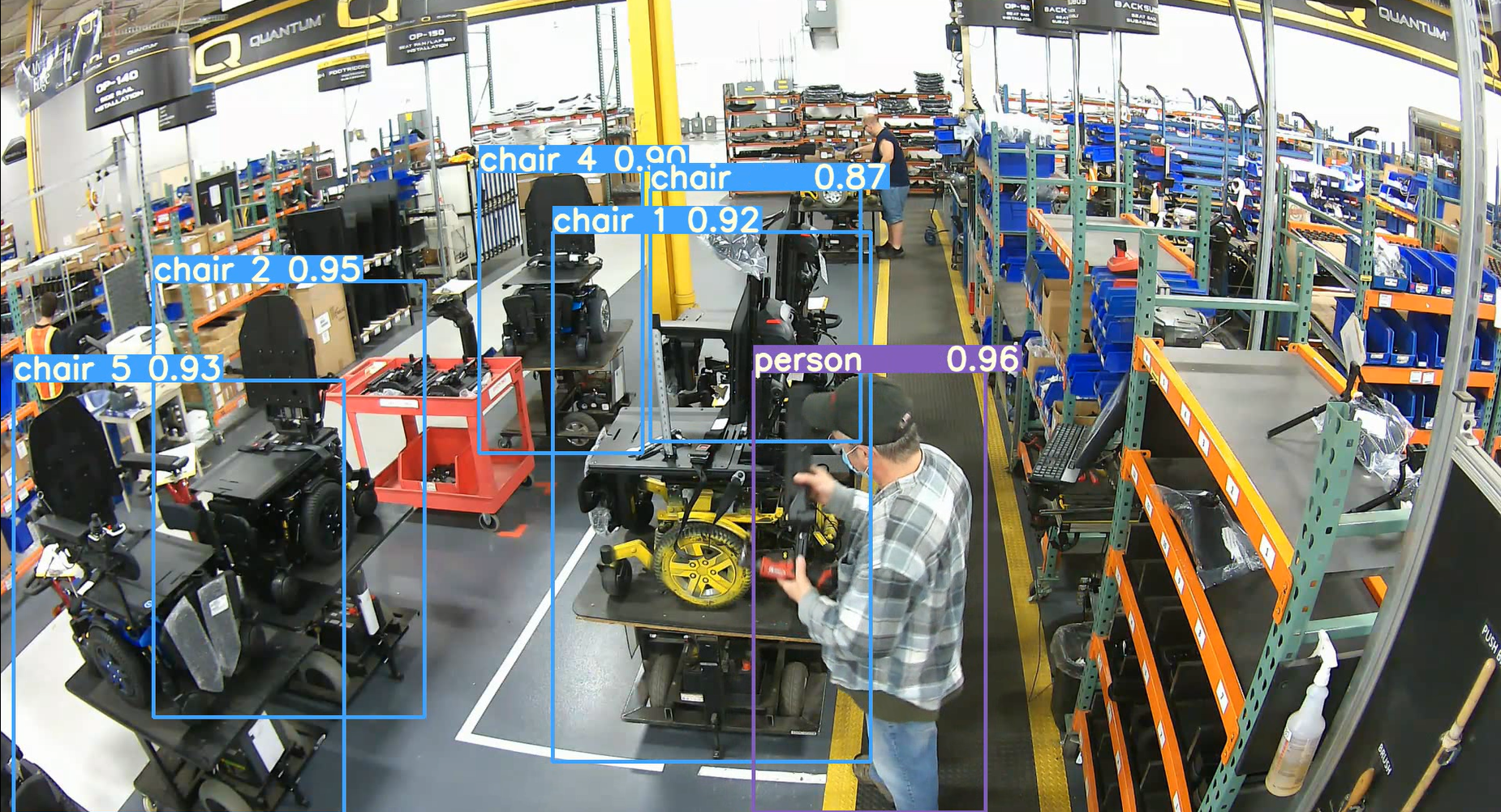 This screenshot of a live computer vision simulation shows how image processing recognizes certain objects and their locations within their environment.