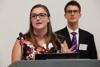 Laura Daniel and George Vereyken field questions from an audience after presenting in the Union Gas/Spectra Energy Capstone Design Demonstration Day.