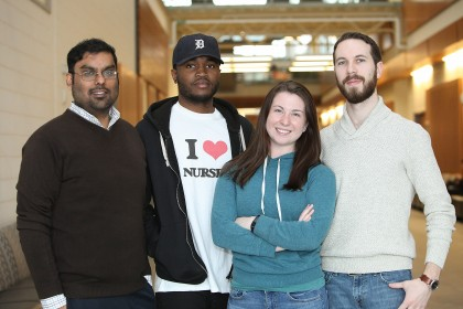 Photo (L-R) Deepaul Chunilall, Ted Thompson, Ryley Urban and Brande Norman pose in CEI. The team of industrial engineering students placed second in the 2016 IIE Case Study Competition.
