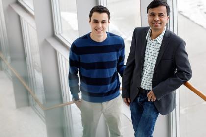 Josh Jaekel (L) and Dr. Jalal Ahamed (R), pictured in the Ed Lumley Centre for Engineering Innovation, have developed a personalized navigation system that has the potential to assist the visually impaired and those in low-visibility environments. The wea