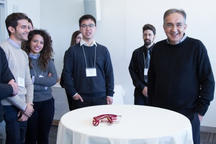 Fiat Chrysler Automobiles CEO Sergio Marchionne meets with engineering students at the University of Windsor.