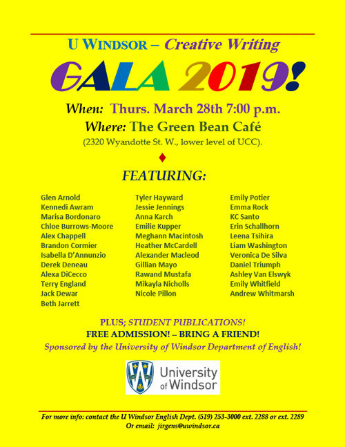 Poster advertising the Creative Writing Gala
