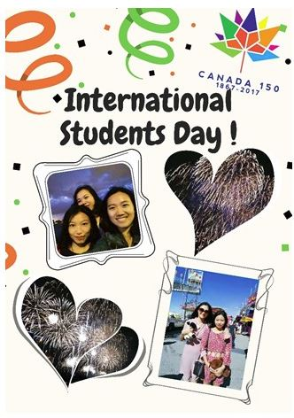 "postcard showing images of students and fireworks with text ""International Students Day"""