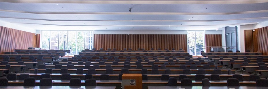 Photo of empty lecture hall from front stage
