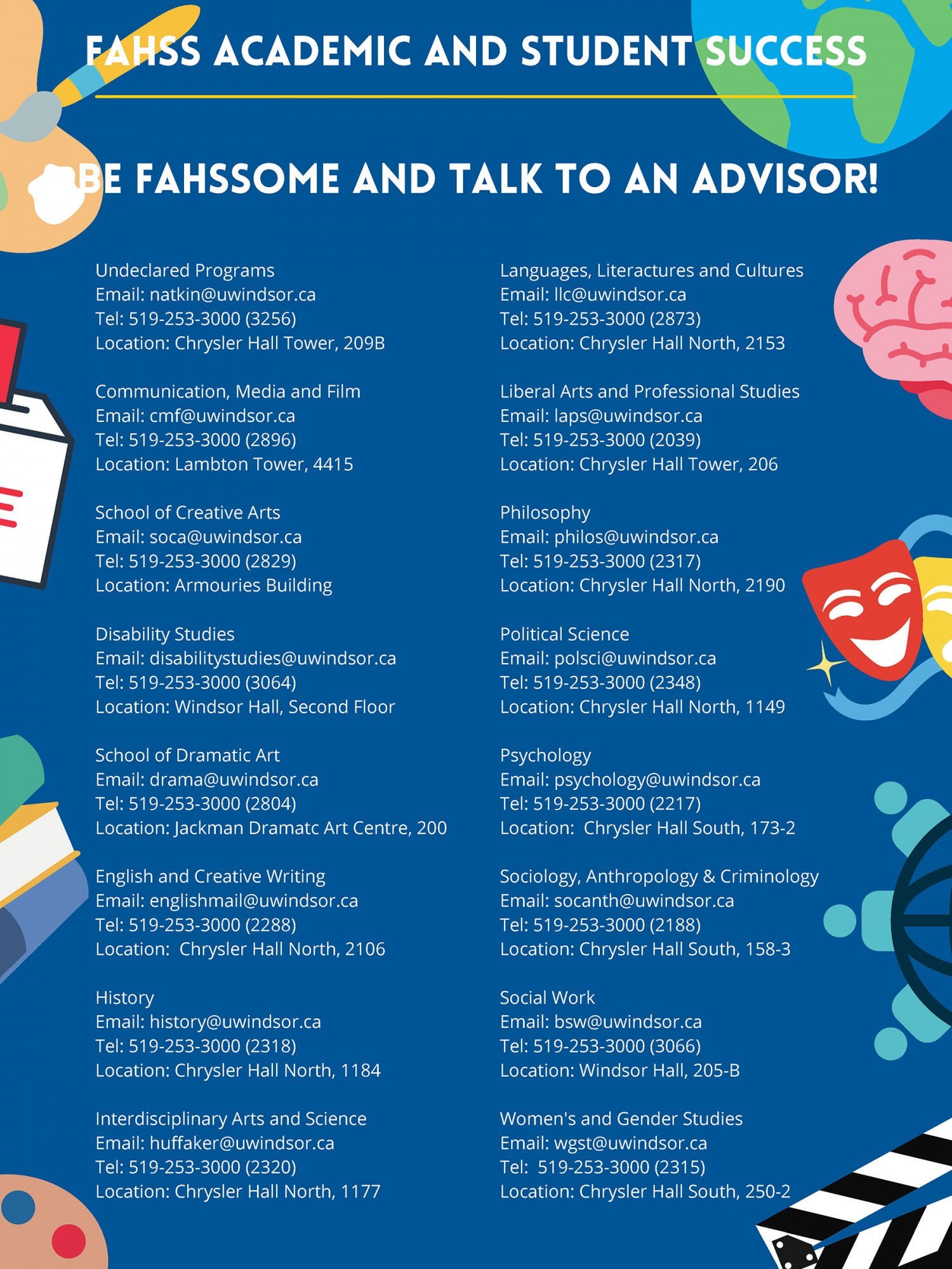 Image lists academic advising contact information for each program/department in FAHSS