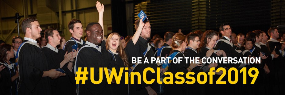 Image of graduating students with hashtag #UWinClassof2019 text overlay