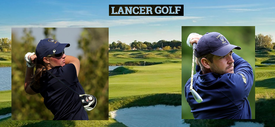 Lancer Golf Alumni Donation page - Emily Stadder and Bryce Evon pictured