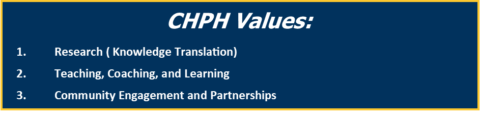 CHPH Values: Research ( Knowledge Translation) Teaching, Coaching, and Learning Community Engagement and Partnerships