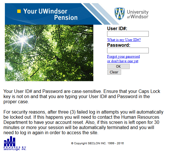 UWindsor Pension Login Image