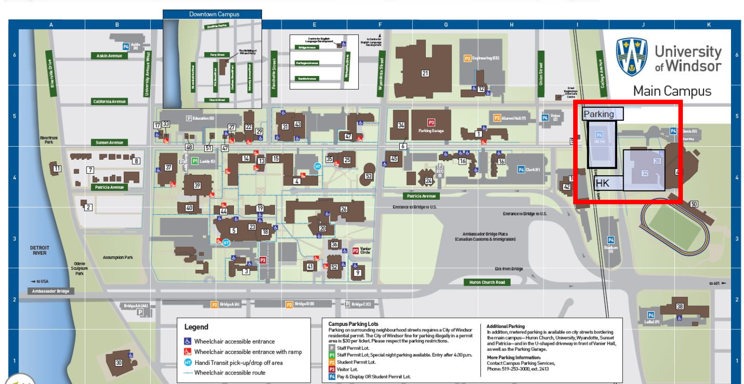 university of windsor campus map Contact Information Kinesiology