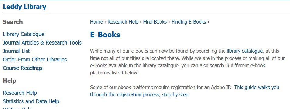 Leddy library screenshot