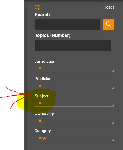 Proview subject heading search screenshot