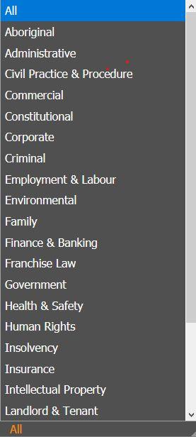 Proview subject headings list screenshot