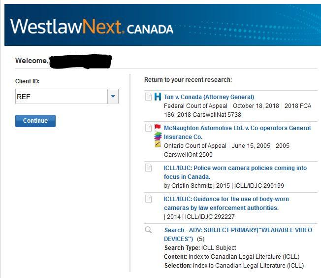 WestlawNext Canada client select screenshot