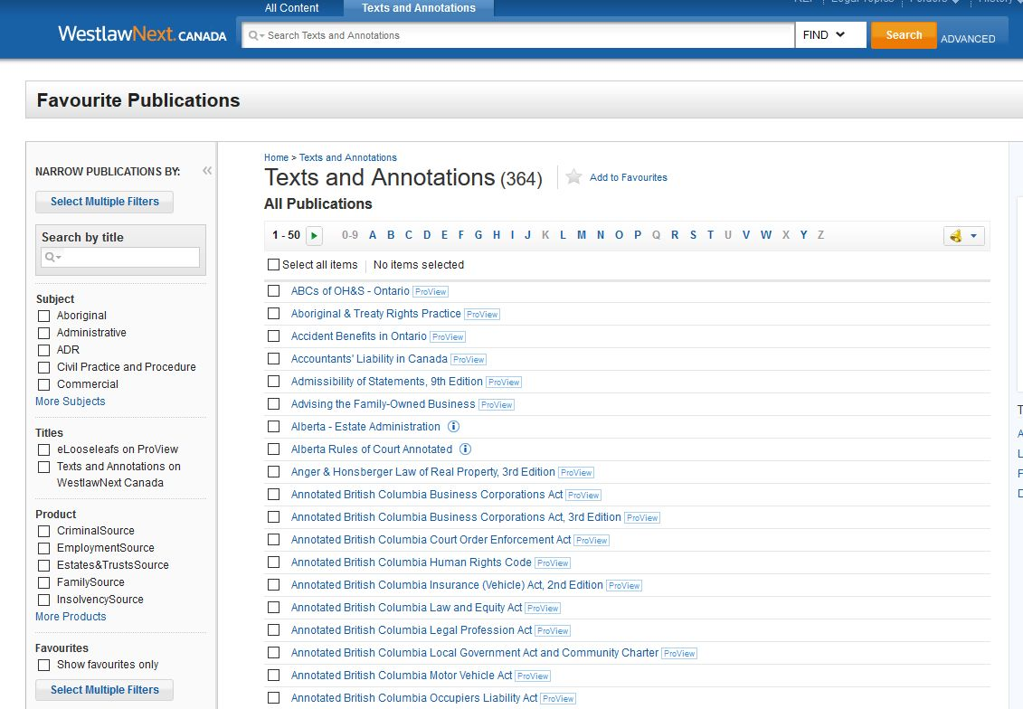 WestlawNext Canada Texts and Annotations screenshot