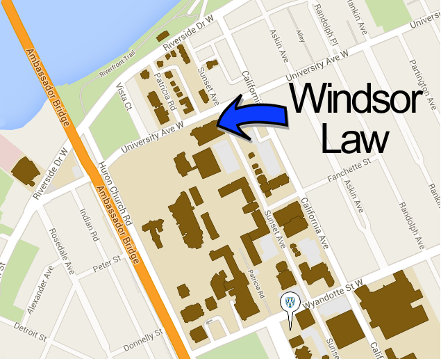 Campus map showing the location of the Faculty of Law