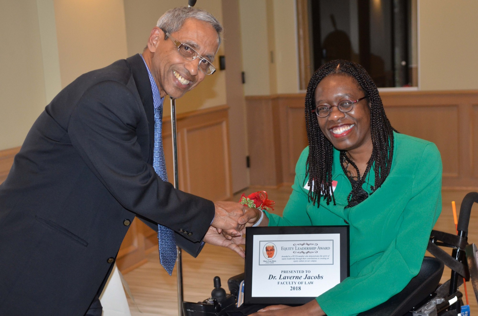 Professor Laverne Jacobs receives the Mary Lou Dietz Equity Leadership Award