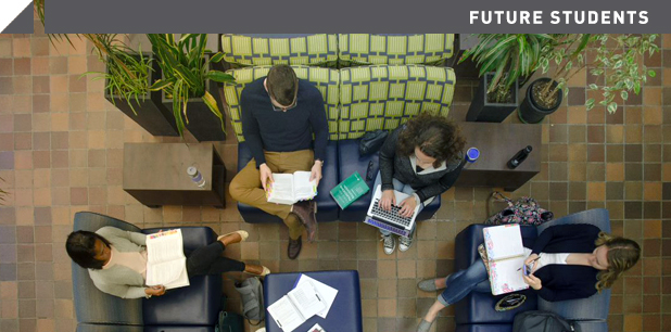 Overhead shot of students in lounge
